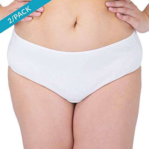 Cottonique Womens Latex-Free Waist Brief Made from 100% Organic Cotton (2/Pack   Natural)