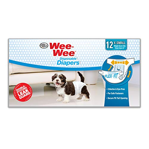 Four Paws Wee-Wee Extra Small Disposable Dog Diapers, 12-Pack (Dog Training Diaper)