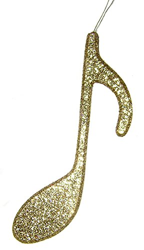"Kurt Adler Gold Glittered 8th Note Music Lover Christmas Ornament 8"" #H9053"