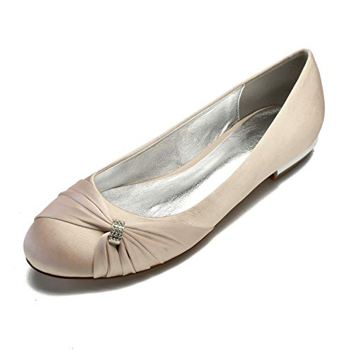 Champagne Round Satin Womens Toe Shoes Flats MarHermoso nwUC7fqxwY