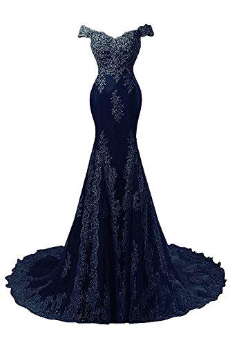 Encaje Vestidos Mujer de JAEDEN de Noche Sirena Largo de Novia Marino Azul Satín Vestido Vestido Baile 57dqq1Bwx