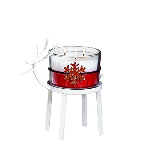 CC Home Furnishings Set of 2 White Christmas Reindeer Pillar Candle Holder 8'' - Small by CC Home Furnishings