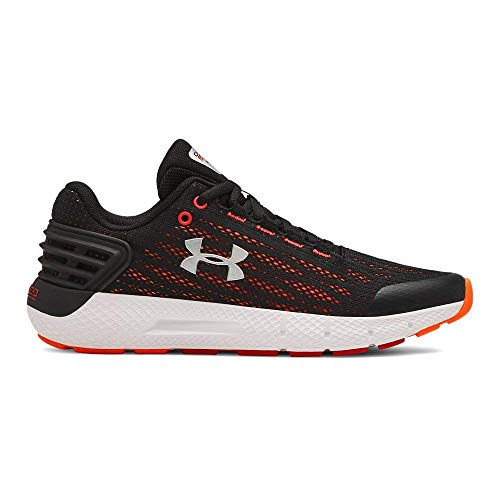 Under Armour Boys' Grade School Charged Rogue Sneaker, Black (001)/White, 4