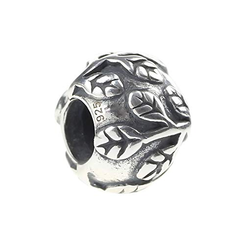 Leafy Vines Ivy Tree of Lift Decorative Spacer Charm .925 Solid Sterling Silver Bead Pandora Chamilia Biagi & European Bracelets Compatible - Leaves Photo European Beads
