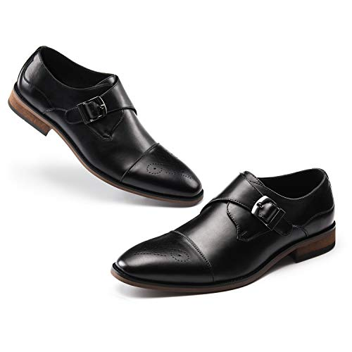 Men's Monk Shoes Slip On-Stylish Dress Shoes Leather Loafer Single Monk-Strap Buckle Cap Toe Brogue Black 10.5