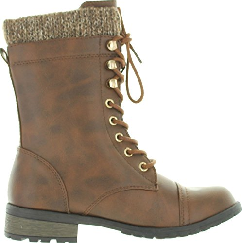 Round Toe Premium Lace Low Boots Pu Cuff Knit Mango Heel 31 Link Combat Up Ankle Womens Brown Military Forever SRqIfXf
