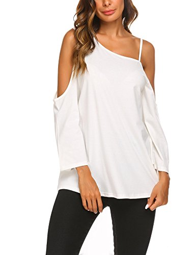 UNibelle Women One Shoulder Loose Fitted 3/4 Bell Sleeve Sexy Tunic - Tunic Braided Top
