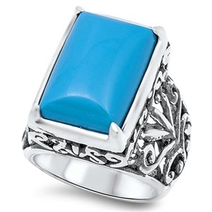 925 Sterling Silver Rectangular Simulated Turquoise Filigree Ring 21MM Size (Sterling Silver Rectangular Turquoise Ring)