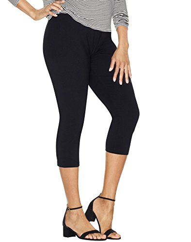 Just My Size Women`s Stretch Cotton Capri Leggings, Q88908, 2X, Black (Best Type Of Dress For My Body Shape)