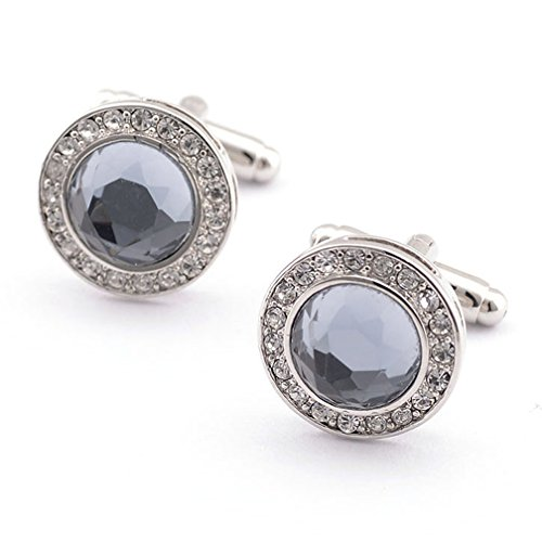 Crystal Elegant Cufflinks (Super Shiny Swarovski Quality Crystal Circular Cufflinks Elegant Style)