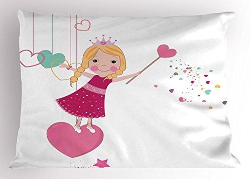 Lunarable Princess Pillow Sham, Cute Little Girl on a Heart Shape Sweet Fairy Magic Wand Lovely Kids Girls Design, Decorative Standard Queen Size Printed Pillowcase, 30 X 20 inches, Multicolor - Shapes Magic