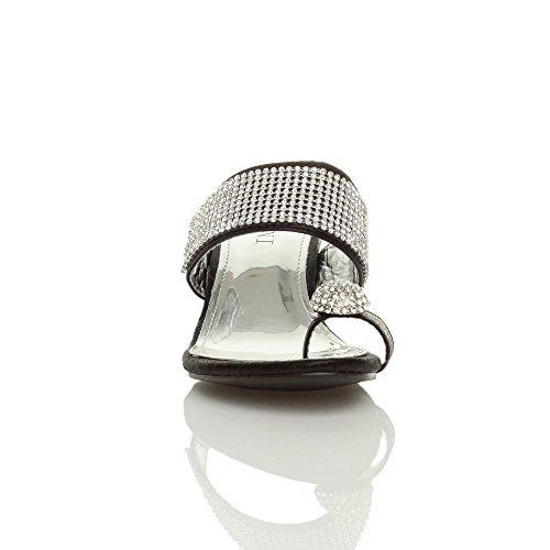 Tilly Shoes Plataforma Mediados De Tacón Bajo Peeptoe Toe Post Fiesta Diamante sandalias Mule Zapatillas Tamaño Negro - negro