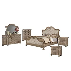 Best Quality Furniture Catalina 6PC California King Bed + Dresser + Mirror + 2 Nightstands + Chest, Rustic Pecan