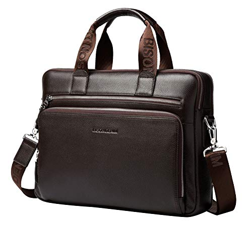 - BISON DENIM Mens Briefcase Leather Business Work Bag 14 Inch Laptop Messenger Bag Ipad Briefcase Handbag for Men (Large Brown-3C)