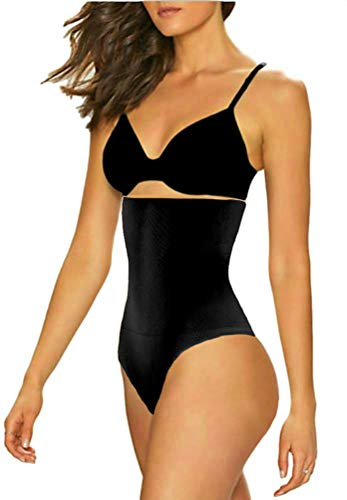 ShaperQueen 102 Thong Best Womens Waist Cincher Body Shaper Trimmer Trainer Girdle Faja Bodysuit Short Slip Tummy Control Brief Corset Plus Size Underwear Shapewear Thong (S, Black)