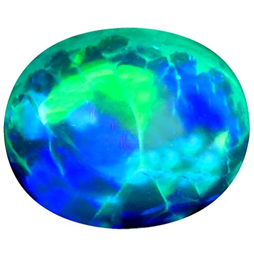 3.27 ct Oval Cabochon Cut (12 x 10 mm) Ethiopian Play of Colors Black Opal Loose Gemstone