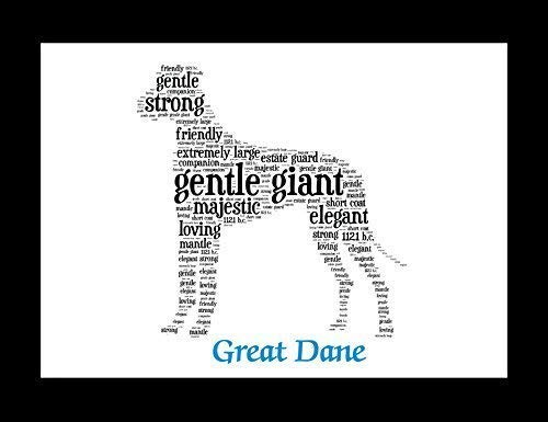 (Great Dane Dog Wall Art Print - Personalized Pet Name - Gift for Her or Him - 11x14 matted - Ships 1 Day)