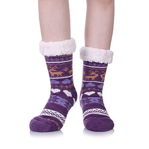 Women's Super Soft Warm Cozy Fuzzy Fleece-lined Non-skid Knee Highs Christmas Winter Slipper socks (Purple) from LongGe