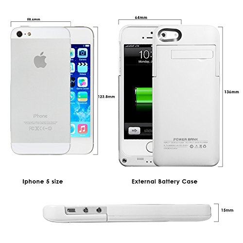 2200mAh Extended Battery condition Back Up strength Bank for iPhone 5 5S Back Up iOS 7 or above working Lightning Charging Port Kick bear tiny suit Slider type entire Body Protection On Off Switch LED Battery top quality Indicator White Batteries