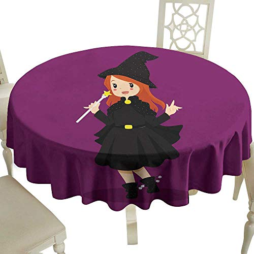 WinfreyDecor Decorative Textured Fabric Tablecloth Halloween Witch Costume Great for Buffet Table D39]()