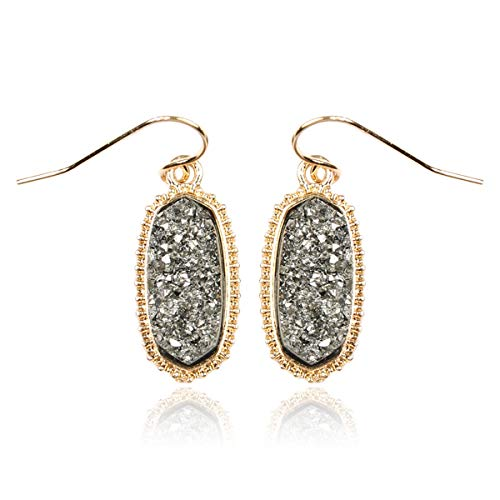 RIAH FASHION Lightweight Acrylic Stone Druzy Crystal Oval Drop Earrings - Sparkly Geometric Polygon Hook Dangles Hexagon, Decagon (Oval Hexagon Mini - Hematite)