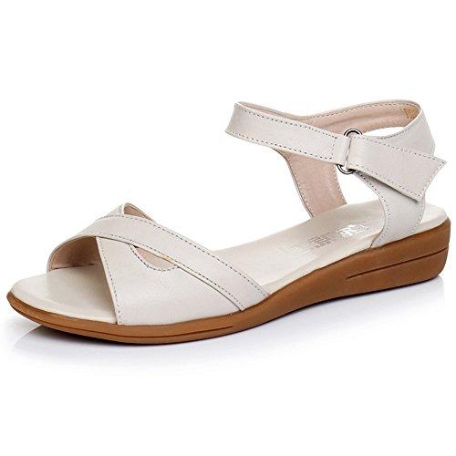 XIAOLIN レザーフラットボトムフラットヒールノンスリップシンプルな黒と白の野生の女性の靴(オプションのサイズ) (色 : 白, サイズ さいず : EU42/UK8.5/CN43)