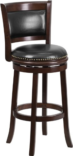 Flash Furniture 29'' High Cappuccino Wood Barstool with Black Leather Swivel Seat (29' High Swivel Seat)