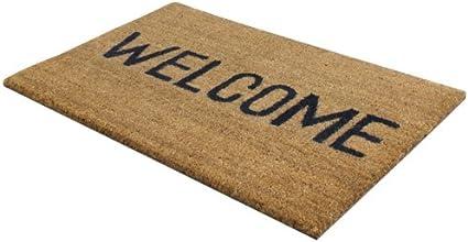Jvl Heavy Duty Welcome Pvc Backed Coir Entrance Door Mat Vinyl Brown 33 5 X 60 Cm Amazon Co Uk Kitchen Home