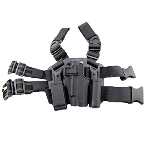 LTY Adjustable Tactical Airsoft Pistol Drop Leg Holster Bag Thigh Right Leg Holster with Magazine Torch Pouch for Colt 1911 M1911 (Black)