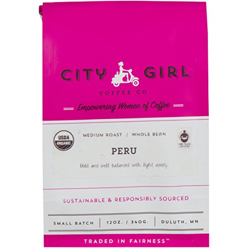 Well Dia (City Girl Coffee Organic & Fair Trade Single Origin Peru, WHOLE BEAN, Medium Roast, 12 oz Resealable Bag, Sourced from Women-Owned Farms)