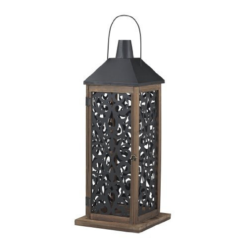 - Sterling Industries 137-004 Darfield - One Light Hanging Lantern, Natural Aged Wood/Black Finish