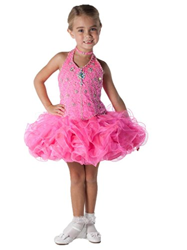SanLing Little Girls' Halter Bodice Beading Pageant Dress Child-5 Pink by Sanling