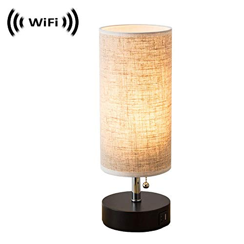 Spy Camera with WiFi Digital IP Signal, Camera Hidden in a Quality Modern Lamp with USB Port (Wooden Base) ()