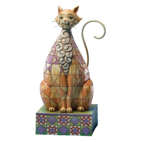 - Jim Shore Heartwood Creek Cat with Checkered Pattern Figurine, 7-Inch