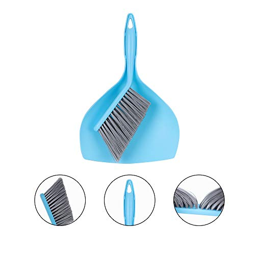 McoMce Dust Pan and Brush, Portable Dust Pan, Tiny Dust Pan and Brush Set, Premium Dustpan, Mini Hand Broom and Dustpan Set for Floor, Sofa, Desk, Keyboard, Car, Dog, Cat and Other Pets (Blue)
