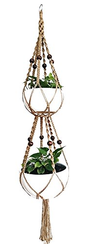 6 Legs Macrame Plant Hanger Natural Jute Double Plant Hanger & Holder with Metal Ring and 6 pcs Round Brown Wood Bead, 65-inches Length (Without the white pot and plant)