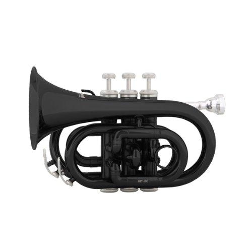 Mendini MPT-BK Lacquer Brass Bb Pocket Trumpet, Black