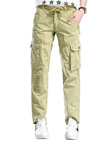 6 Pocket Cargo Pant (Gooket Women's Cotton Casual Drawstring Elastic Waist Straight Leg Multi Pockets Cargo Pants Khaki Tag 34-US 6)