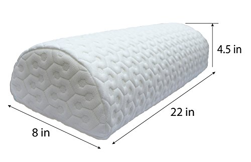 Half Moon Pillow | Bolster for Leg Elevation and Lower Back and Knee Support for Side Sleeper | Honeycomb Heavyweight Removable Washable (Half Recliner)