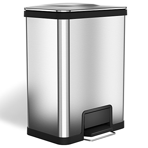 Two Pull Step Rectangular Foot (halo AirStep 13 Gallon Kitchen Trash Can – Stainless Steel Step Trash Can with Deodorizer – Replaceable Air Damper - Silent and Gentle Lid Close)