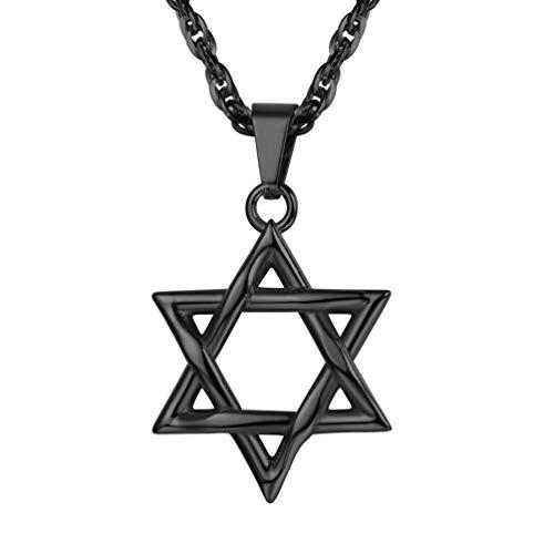 PROSTEEL Black Jewish Magen Star of David Necklace Men Women Bat Mitzvah Gift Israel Judaica Hebrew Jewelry Hanukkah Pendant & Chain
