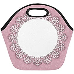 Insulated Neoprene Lunch Bag Elegant Invitation Greeting Card Template Lace Large Size Reusable Thermal Thick Lunch Tote Bags For Lunch Boxes For Outdoors,work, Office, School