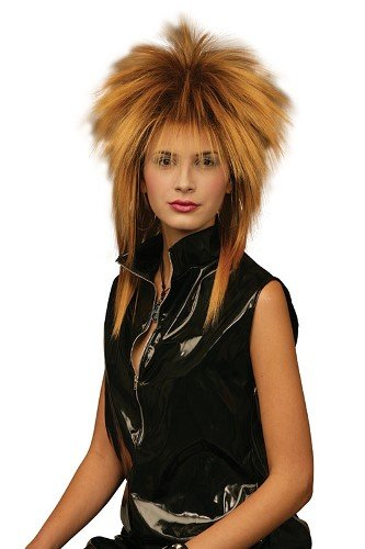 [Tina Turner Rod Stewart Celebrity Fancy Dress Wig - Gold & Black] (Tina Turner Wigs)