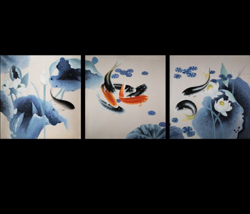 HUGE Canvas Wall Art Modern Contemporary Abstract Art Giclee Canvas Print of Original Oil Painting Koi (Art Chinese Oil Painting)