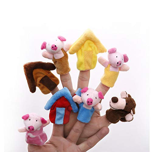Fairy Tale Puppets Set - Potelin Finger Puppets Toys Cartoon Animals The Three Little Pigs Animal Finger Puppet Educational Toys Fairy Tale Toy Plush Puppet Storytelling Doll for Kids Set of 8pcs