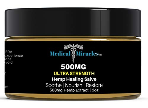 Medical Miracles Hemp 500 Mg Ultra Healing Hemp Salve Balm, Relieves Inflammation, Muscle, Joint, Knee, Nerves, and Arthritis Pain. 100% Natural Ointment, Made in USA