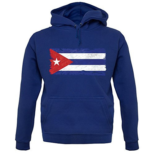 Cuba Grunge Style Flag - Unisex Hoodie - Navy - Small