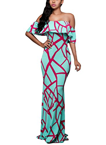 (Prom Homecoming Floral Off Shoulder Bodycon Maxi Dress, X-Large Mint Green)