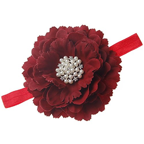 Floral Fall Baby Girls Crystal Peony flower Crown Headbands Hair Bands BY-31 (Burgundy) ()