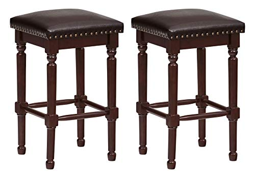 """Ravenna Home Ferris Nailhead Detailed Wood Counter Stool, 26.75""""H, Antique Walnut with Dark Brown Faux Leather (2 Pack)"""
